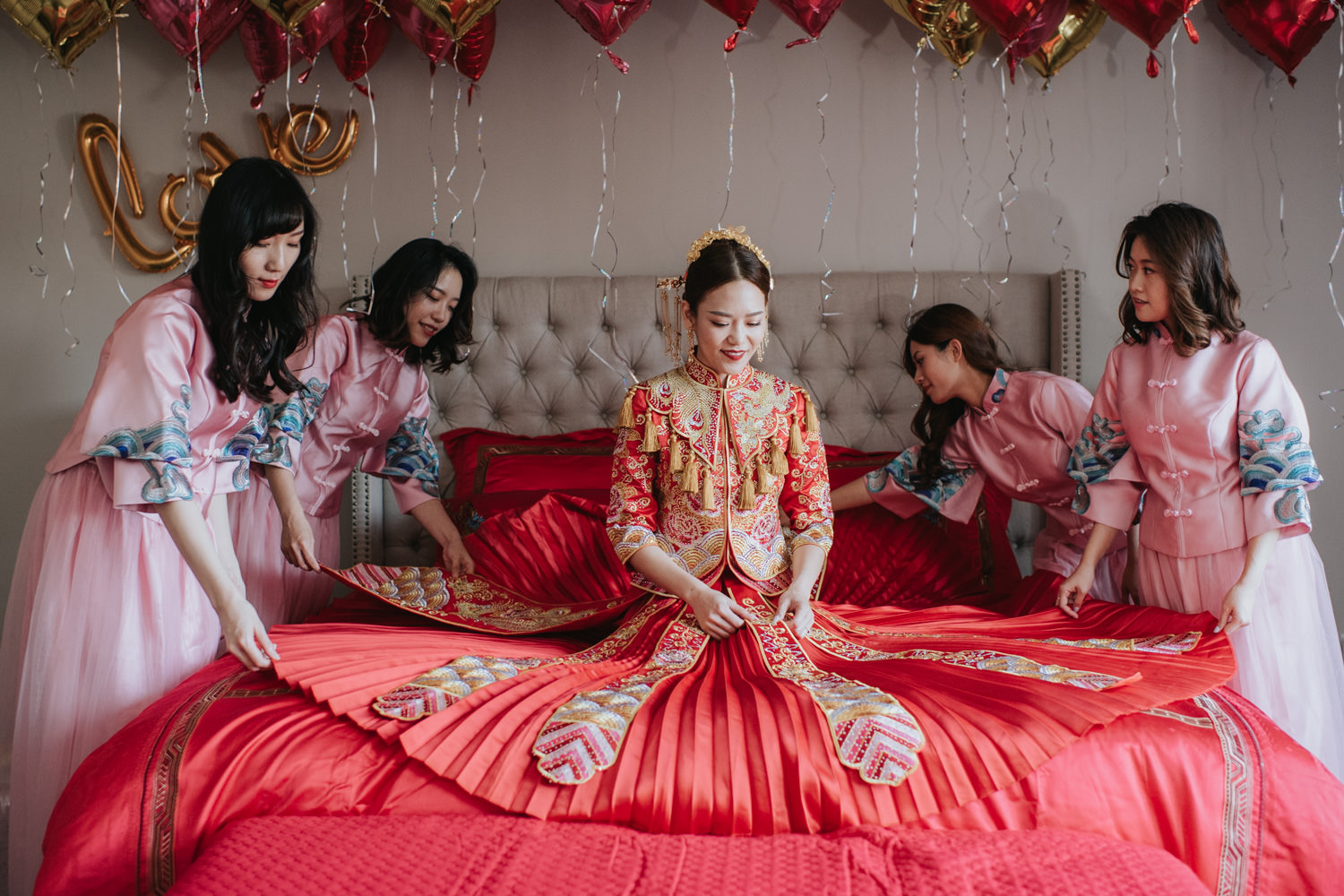 Photo of a Bride and Bridesmaids at a Chinese wedding