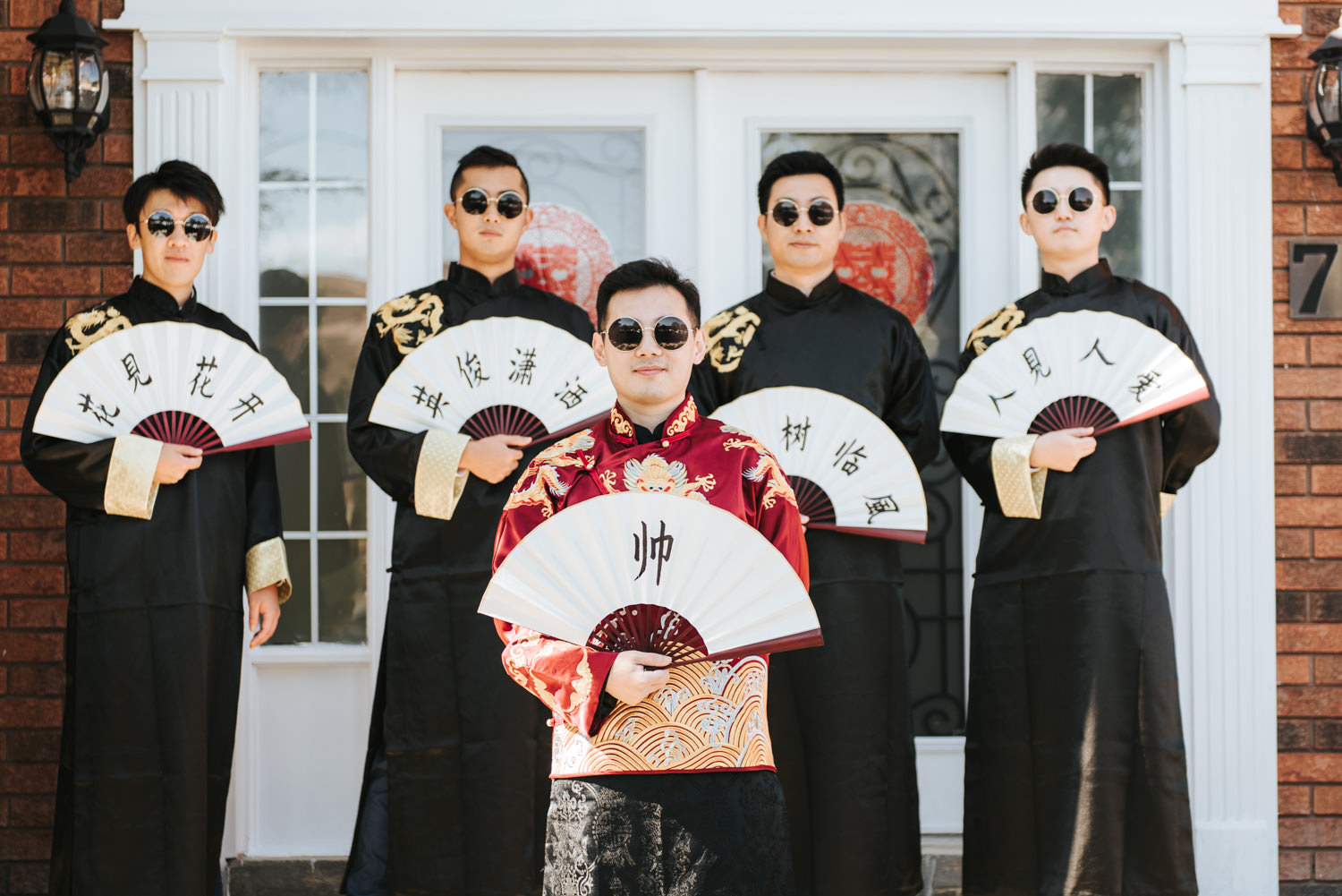 Groomsmen in Chinese Attire and fans