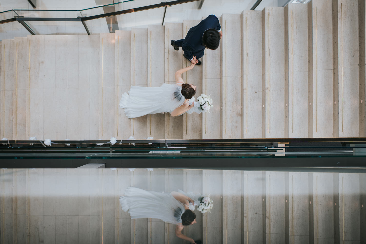 Toronto RCM Wedding Bride and Groom Candid moment at the Staircase