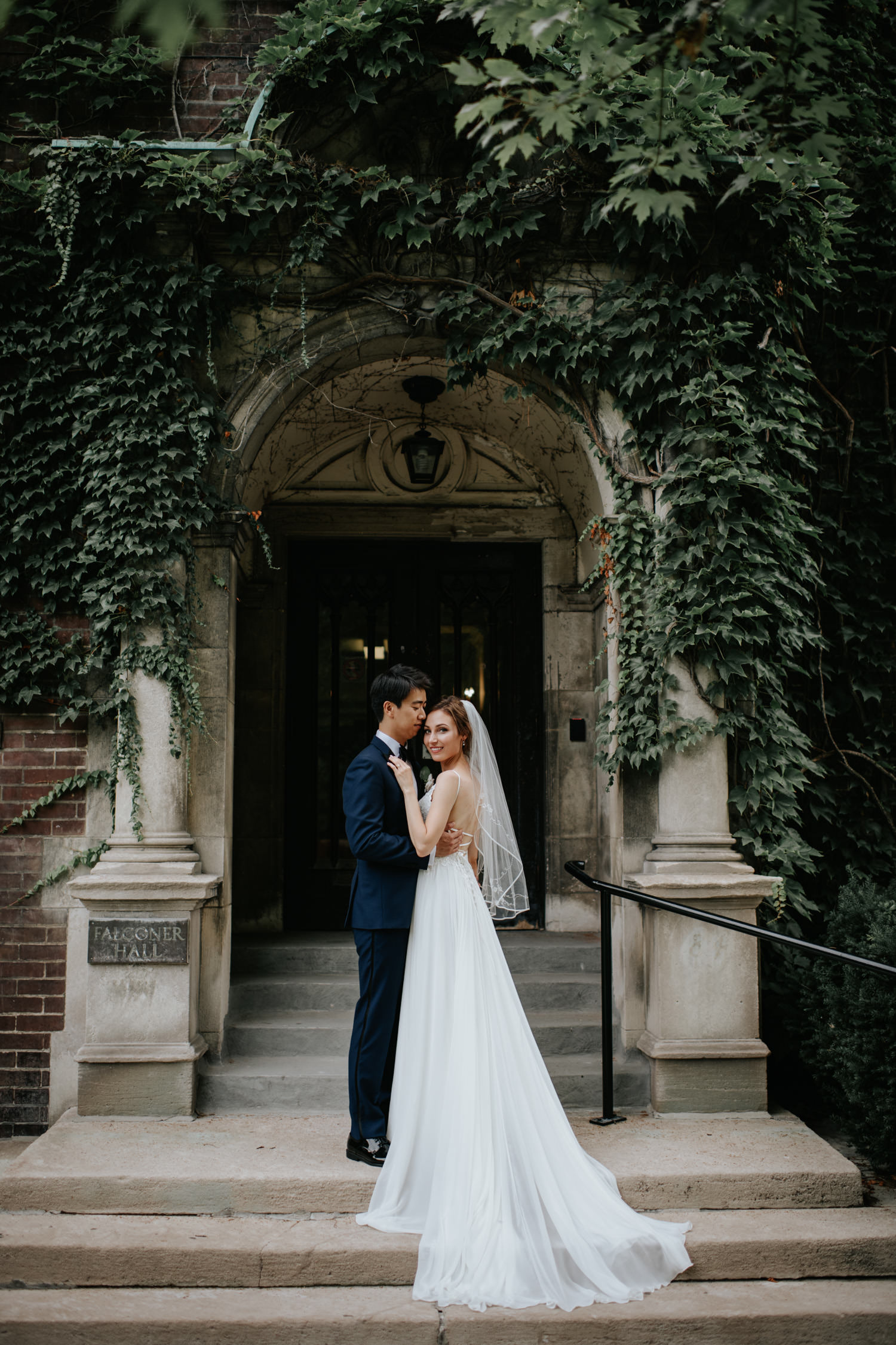 University of Toronto Wedding Portrait Near Law School