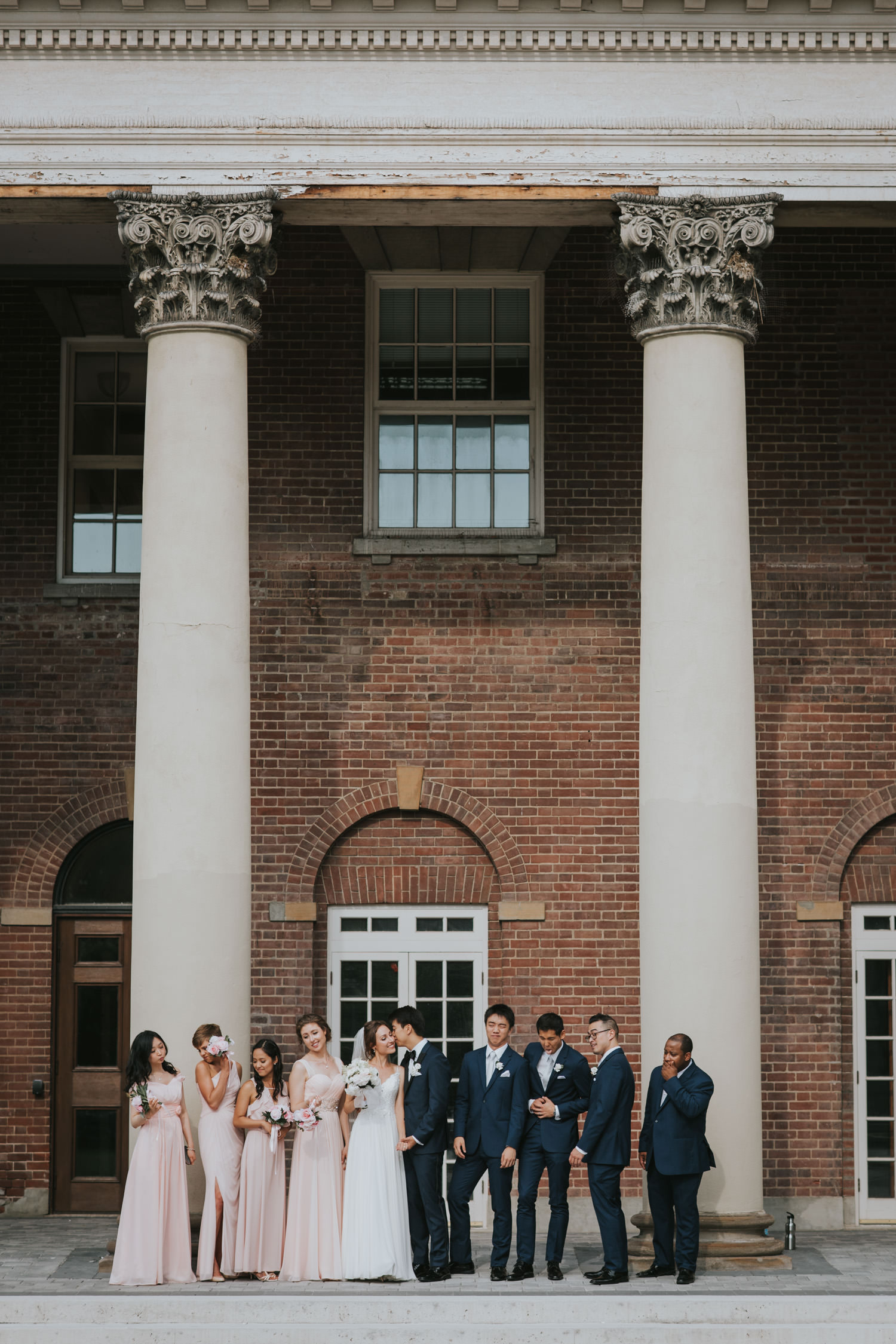 Fun Wedding Party Photo at the University of Toronto