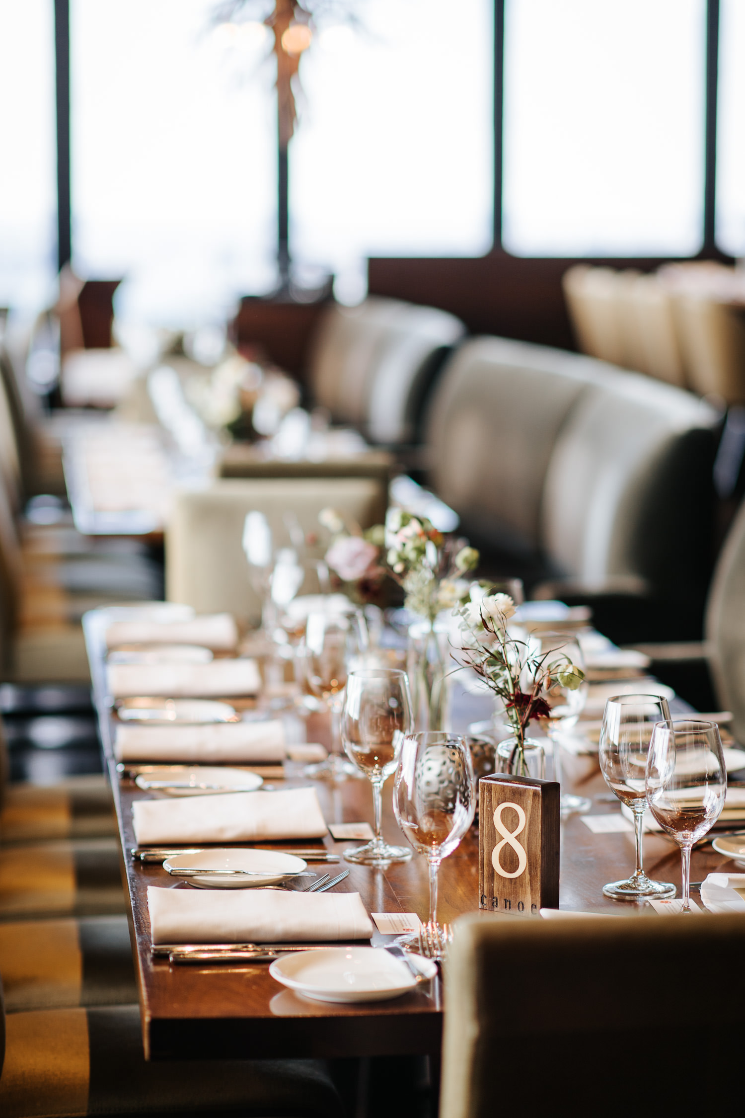 Canoe Restaurant Reception Guest Table Decor Detail
