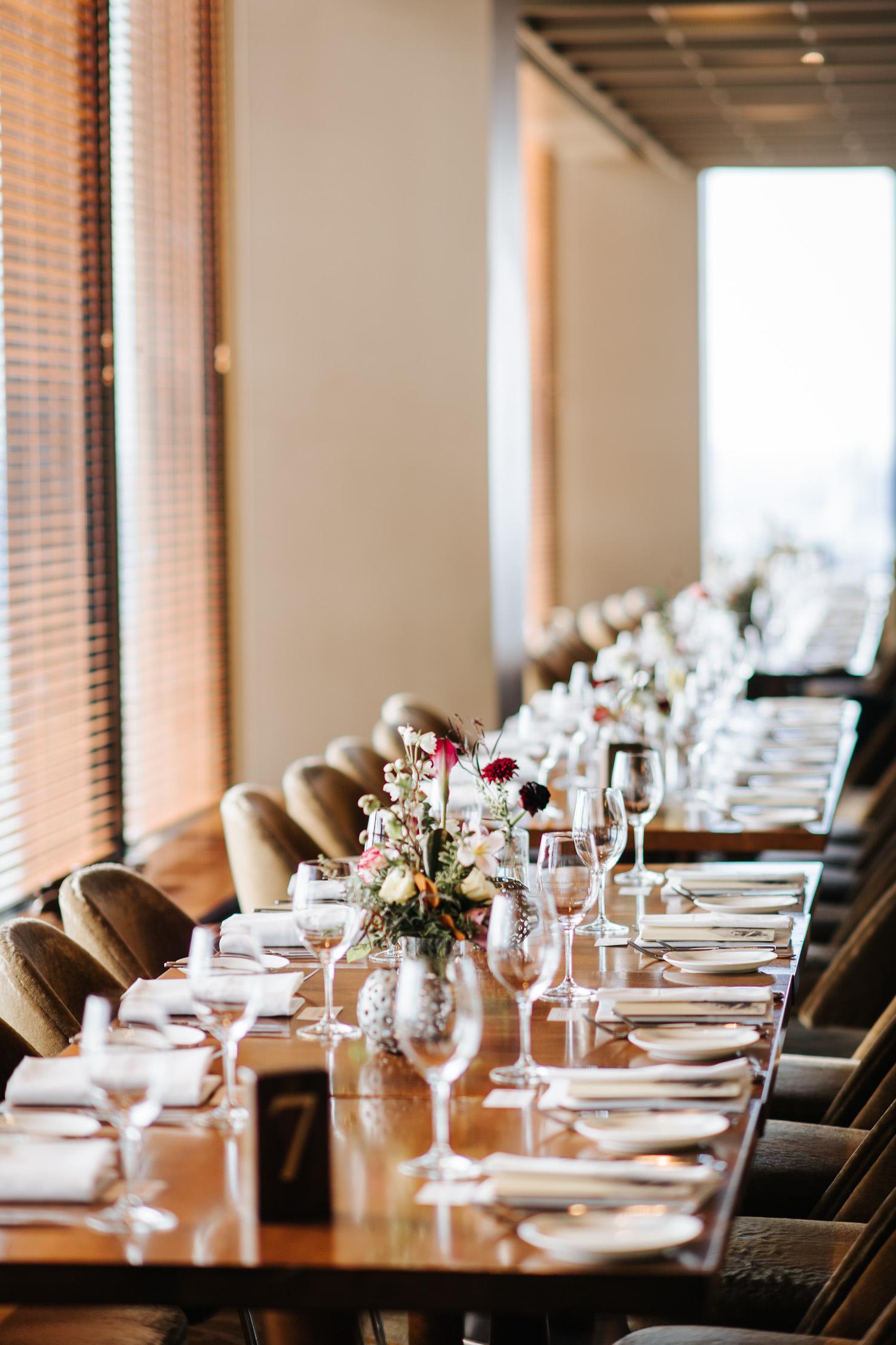 Canoe Restaurant Reception Table Setting Decor