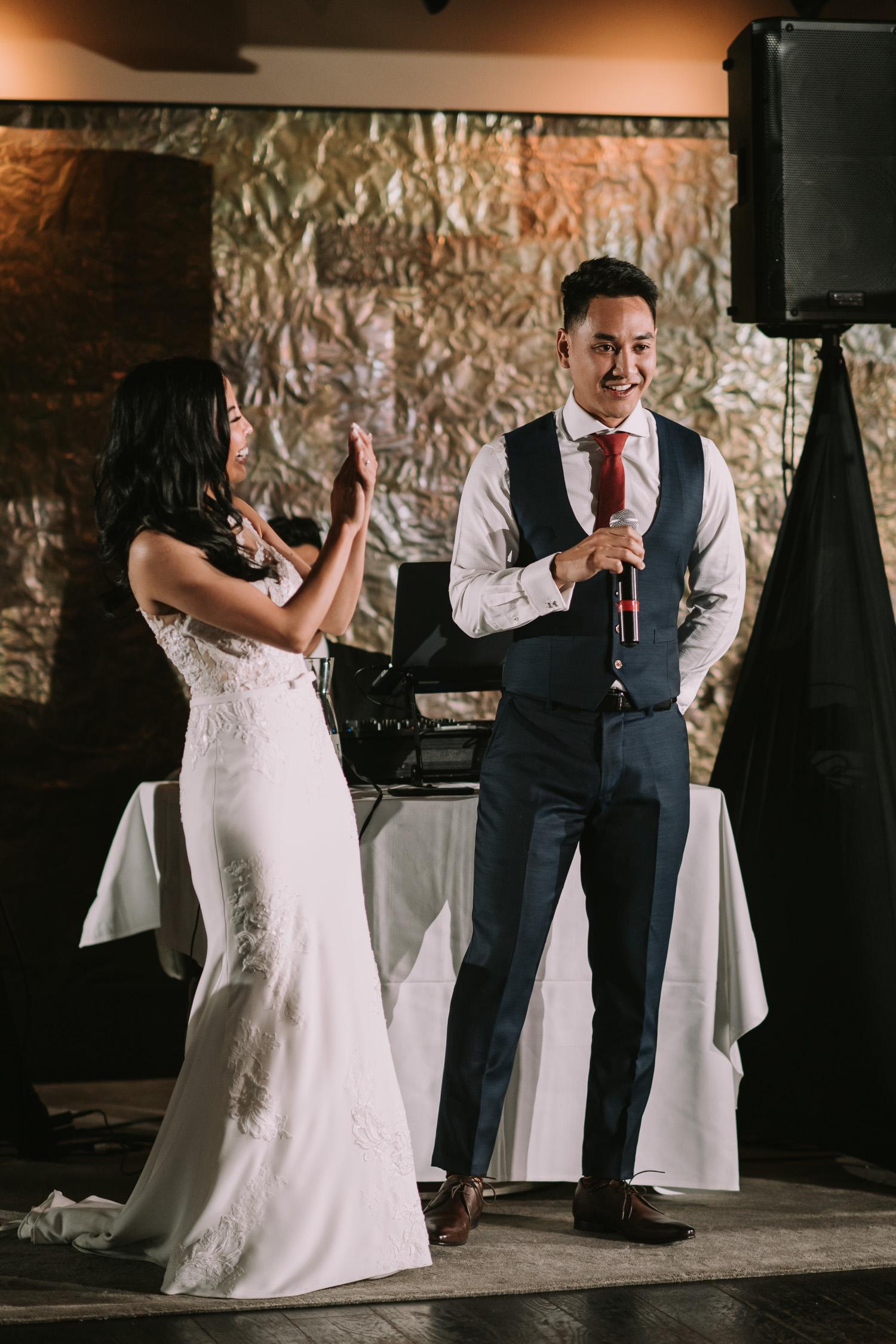 Canoe Restaurant Wedding Reception Bride and Groom Speech