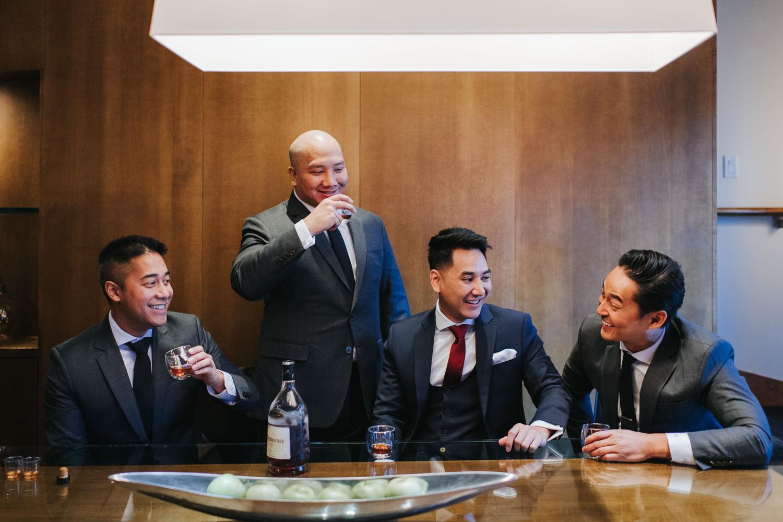 Wedding Groomsmen Getting Ready at Le Germain on Mercer