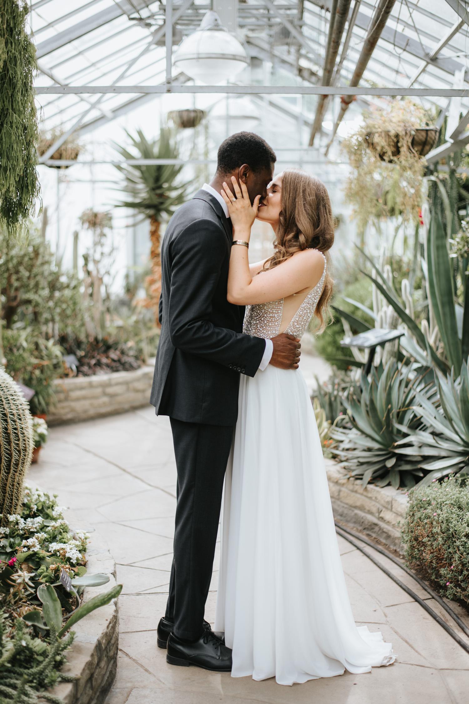 Bright greenhouse wedding at Allen Gardens Toronto wedding photography