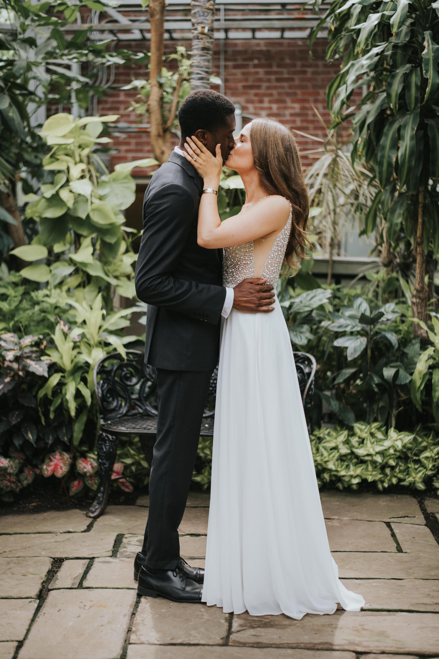 Allan Gardens wedding first kiss as husband and wife photography