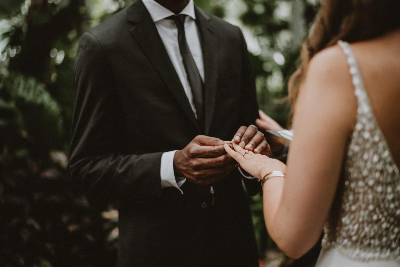 Intimate wedding at Allan Gardens Toronto, ring exchange photography