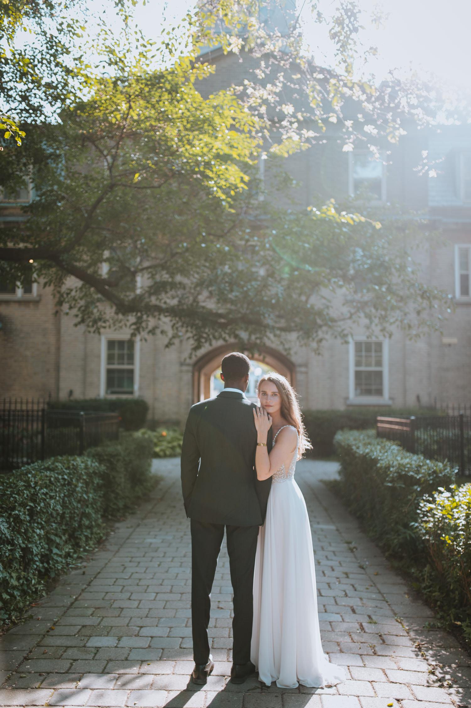 Sunny wedding photography at University of Toronto bride portrait