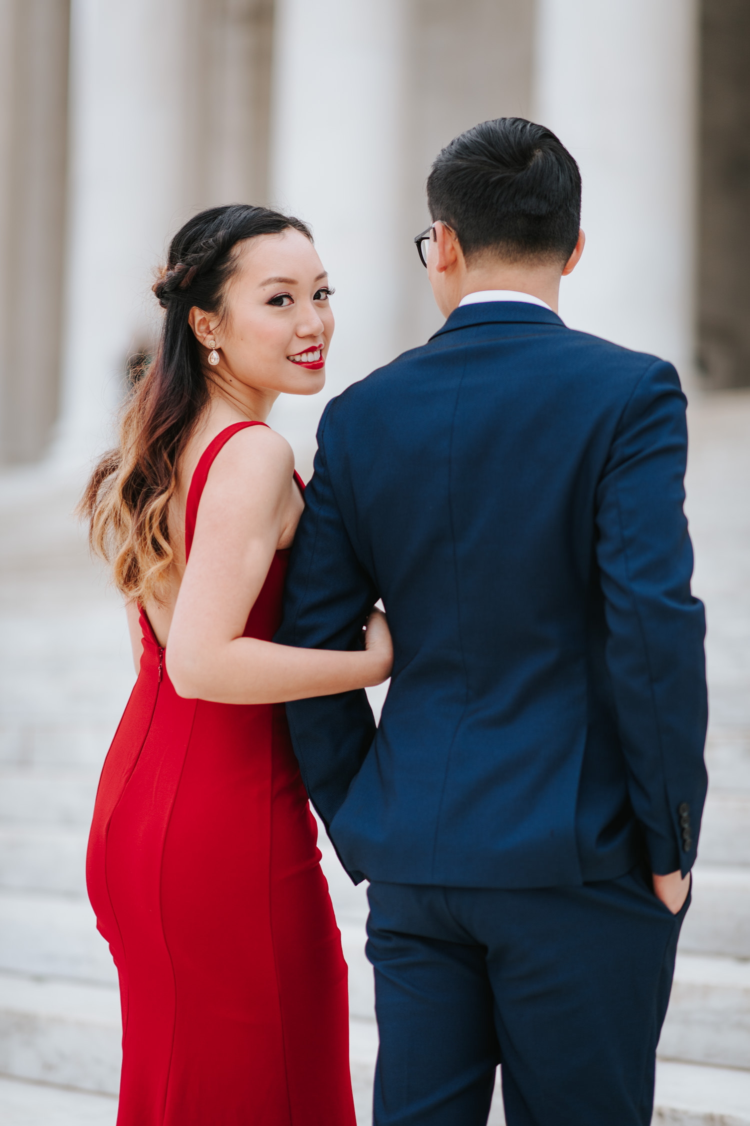 Washington DC Engagement Session at the steps of Jefferson Memorial