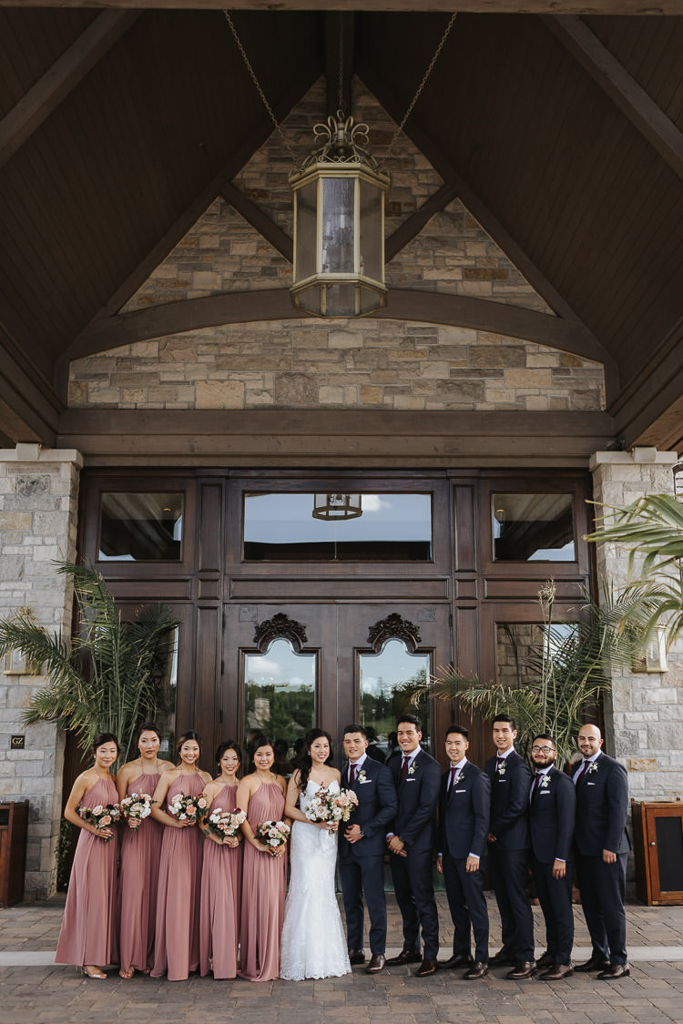 Eagle's Nest Wedding Party Photo in front of the club
