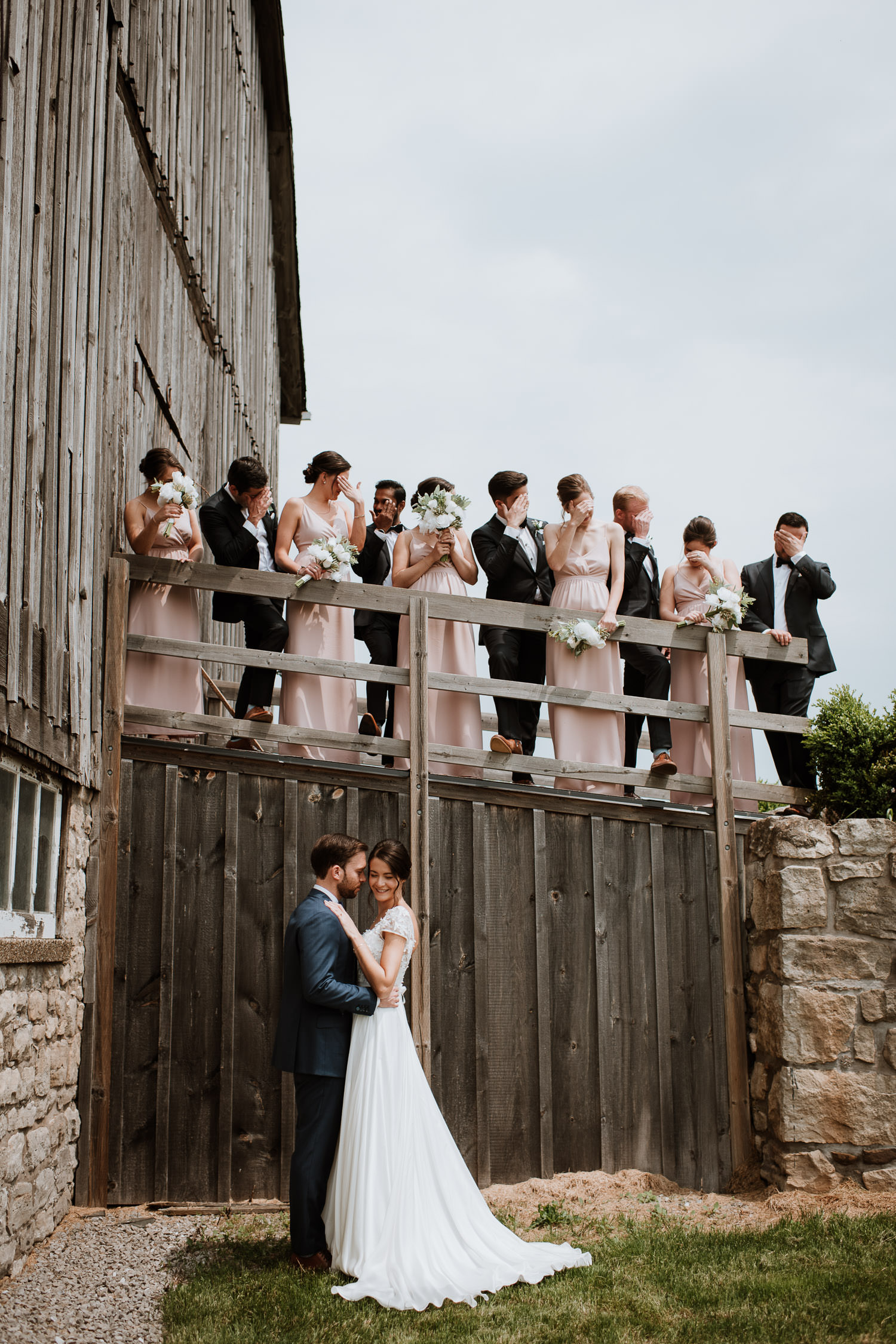 Cave Spring Vineyard Wedding Party Photo