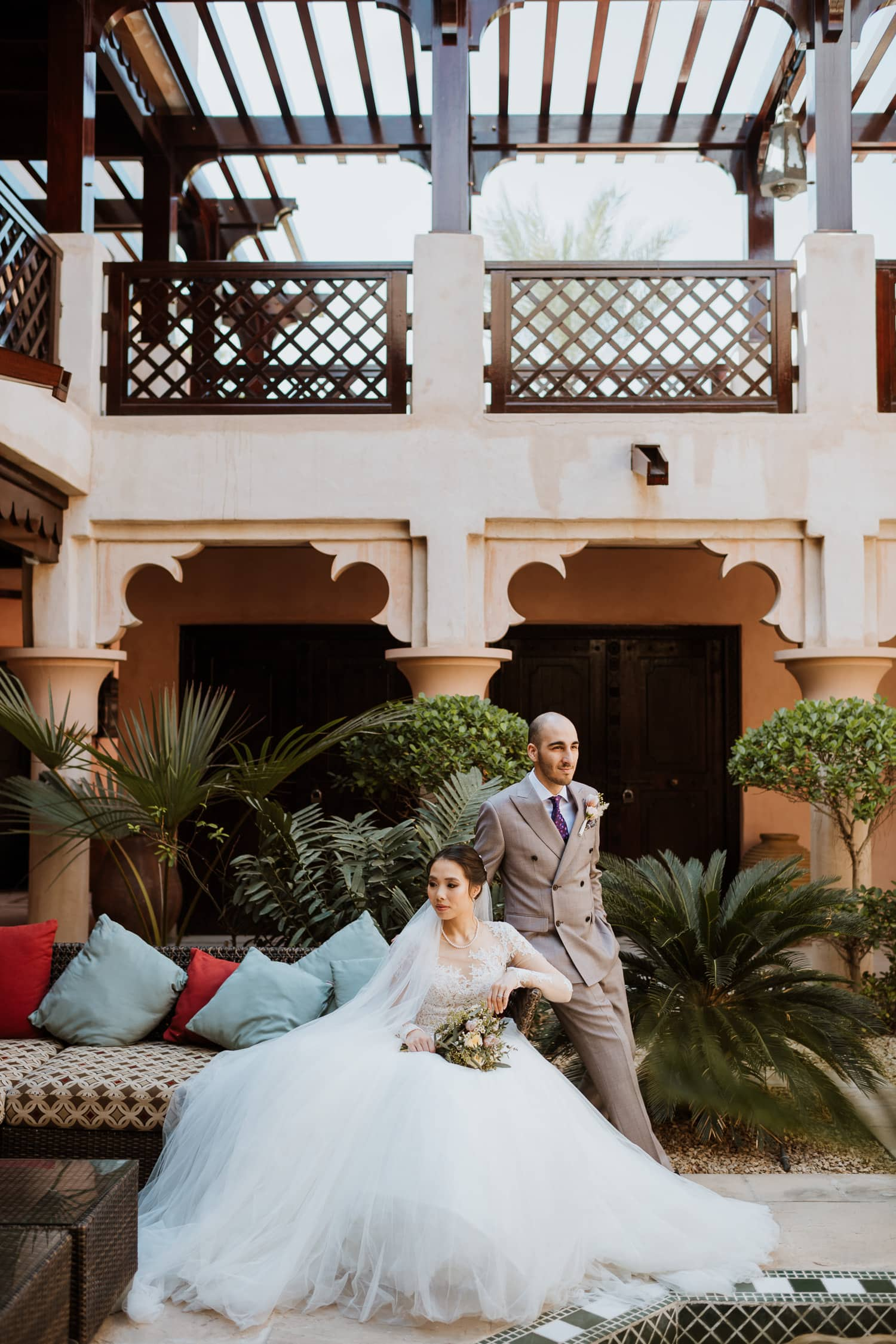Boho Chic Wedding Bride and Groom Courtyard Jumeirah Al Qasr Dubai