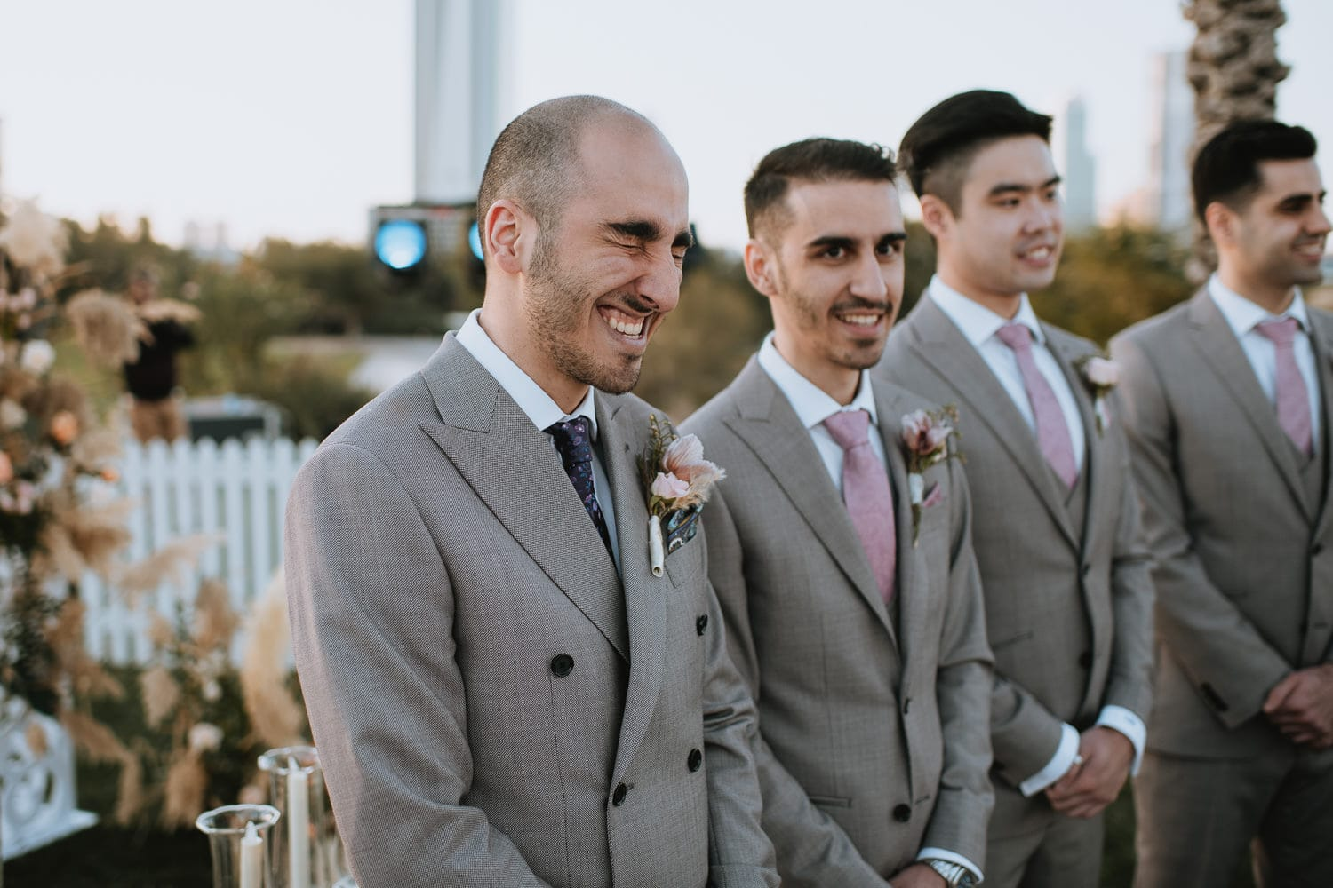 Dubai Outdoor Wedding Groom Reaction