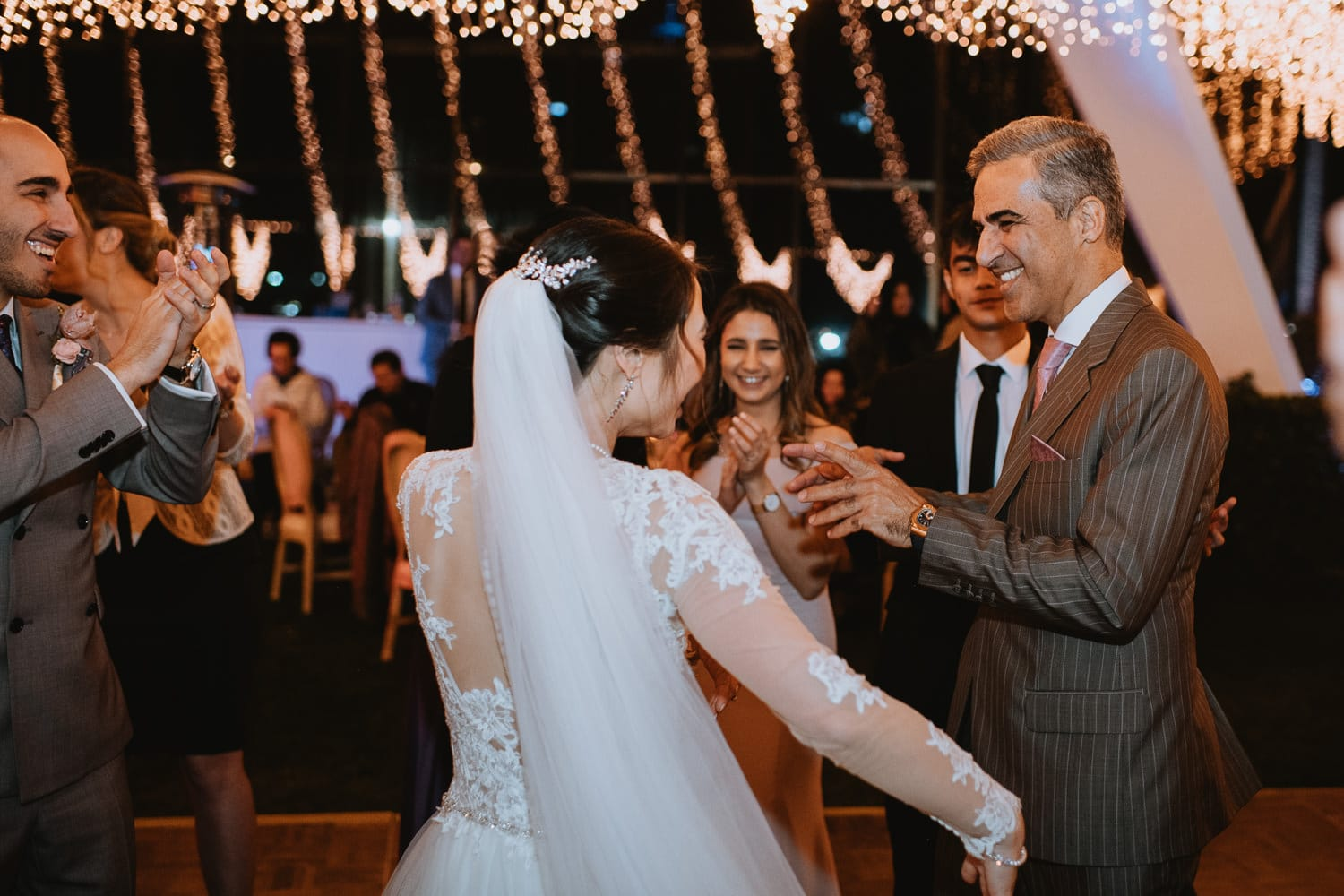 Outdoor Evening Wedding Reception Bride and father dance