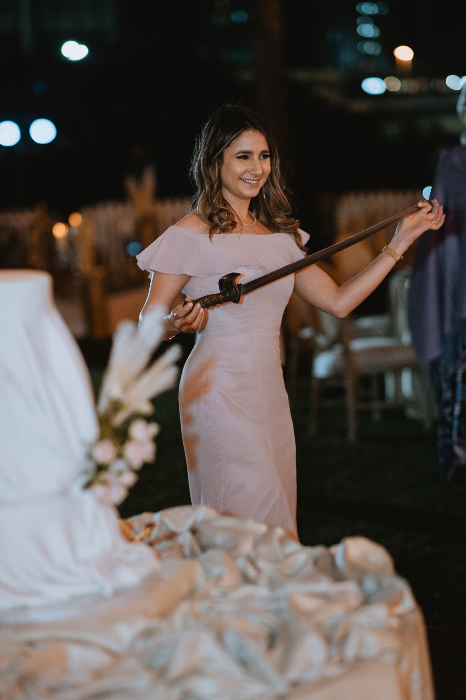 Outdoor Wedding Reception Knife Dance