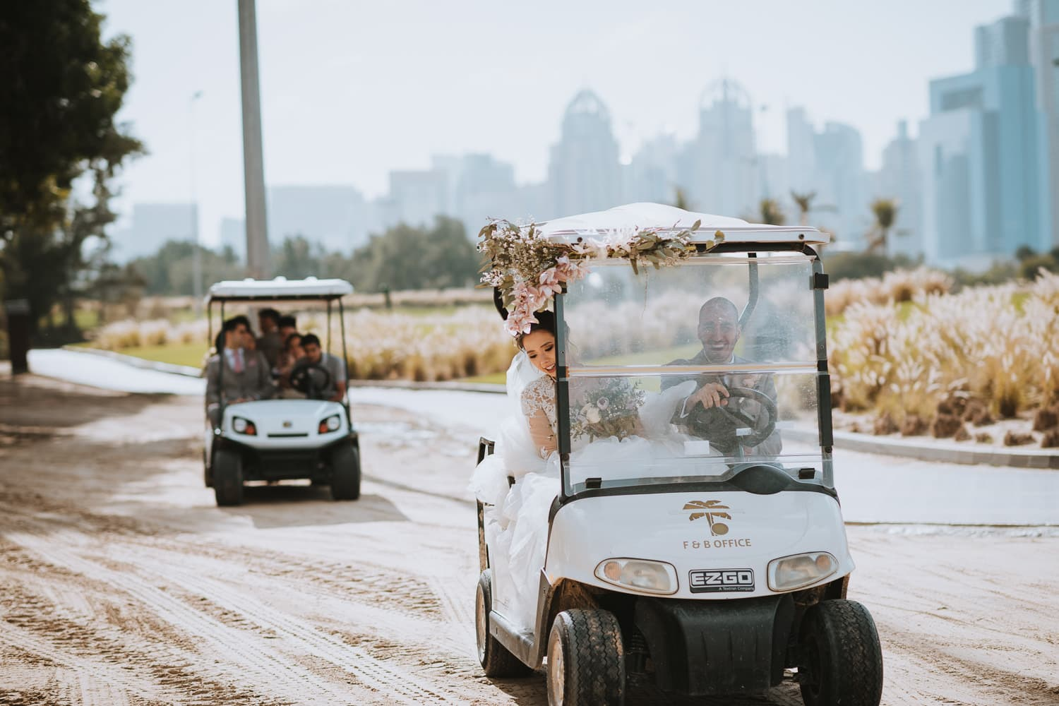 Emirates Golf Club Buggy rides with bridal party