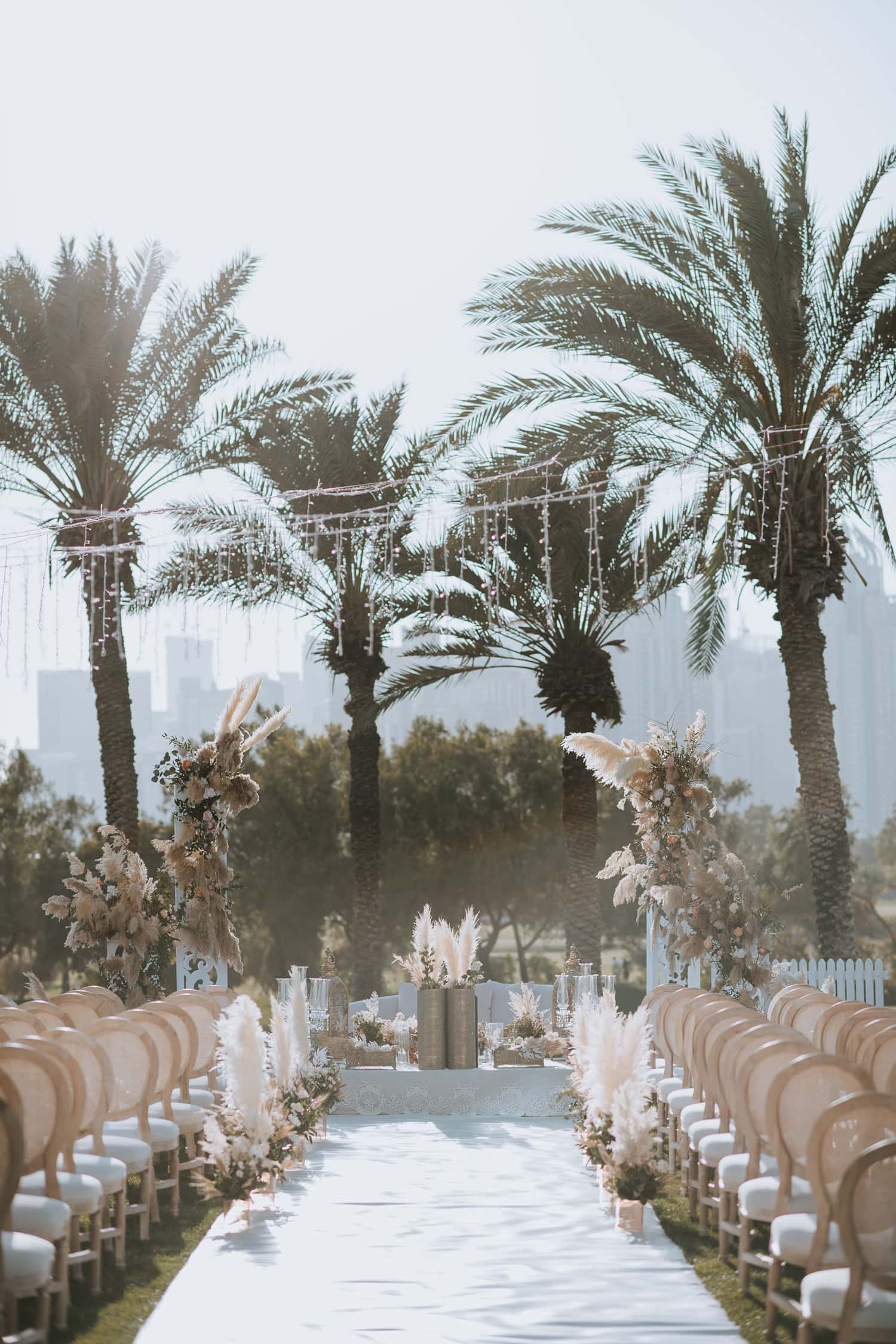 Emirates Golf Club Outdoor Wedding Ceremony Decor